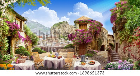 Ancient street of european city with panoramic view. ストックフォト ©