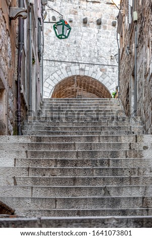 Ancient street stair way perspective in old town of Dubrovnik