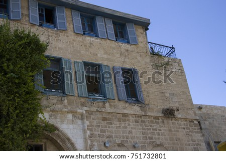 Ancient streets and stone houses in ancient city of Jaffa, Israel Foto stock ©