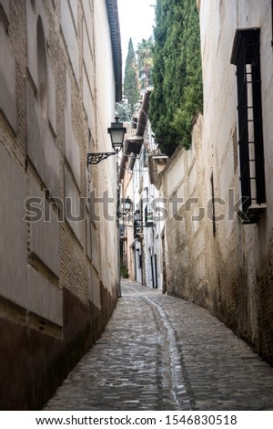 ancient streets in the old Granada, Spain