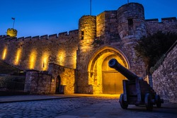 Ancient streets of historical city Lincoln, fantastic adventure travel destination or holiday vacation to view picturesque scenery day or night, sunrise or sunset