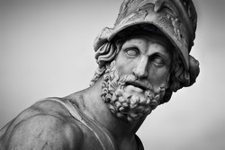 Ancient style sculpture in Loggia dei Lanzi in Florence, Italy. Black and white, head close-up