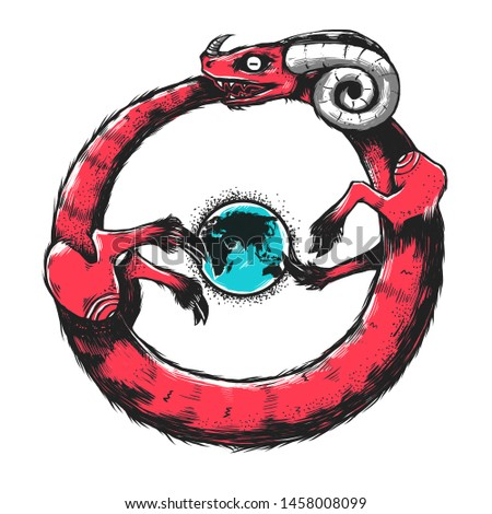 Ancient symbol Ouroboros. The demon snake dragon with horns running on a planet Earth.