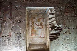 Ancient temple Abydos in Sahara desert, Egypt