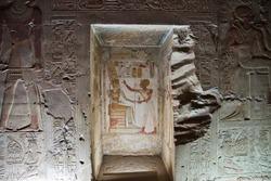 Ancient temple Abydos in Sahara desert, Egypt