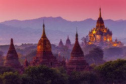 ancient temple in Bagan after sunset , Myanmar , UNESCO World Heritage Site