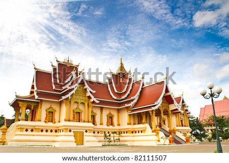 Ancient  temple  in loas - stock photo