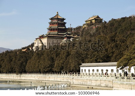 Ancient temple in the park of the summer palace near Beijing with the lake Kunming in the foreground