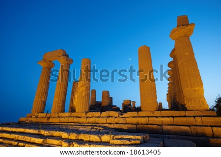 Ancient temple in the valley of the temples in Agrigento, Sicily, Italy