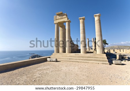 Ancient temple of Apollo at Lindos, Rhodes island, Greece - stock photo