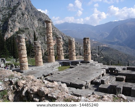 Ancient Temple of Apollo in Delphi, Greece