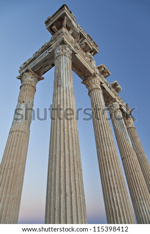 Ancient temple of Apollo in Side, Antalya, Turkey.