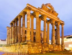 ancient temple of Diana in dawn. Merida, Spain