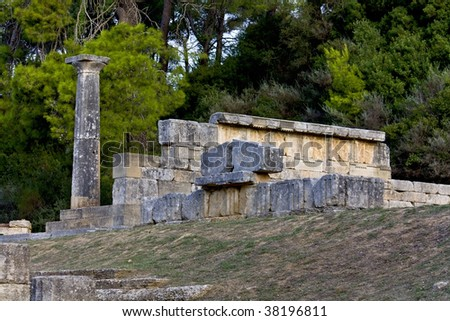 Ancient temple of Goddess Kyveli at Olimpia archaeological site in Greece