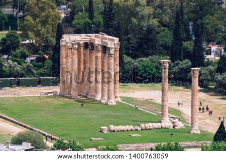 Ancient Temple of Olympian Zeus, Athens, Greece. View from the m Stock fotó ©