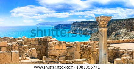 Ancient temples and turquoise sea -main touristic attractions of Cyprus island. columns of Kourion temple