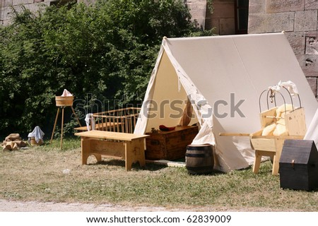 Ancient tent and children's things of nomads