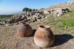 Ancient terracotta jars in the ruins of the Roman city of Pergamum known also as Pergamon, Izmir, Turkey
