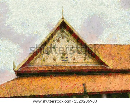 Ancient thai architecture Illustrations creates an impressionist style of painting.