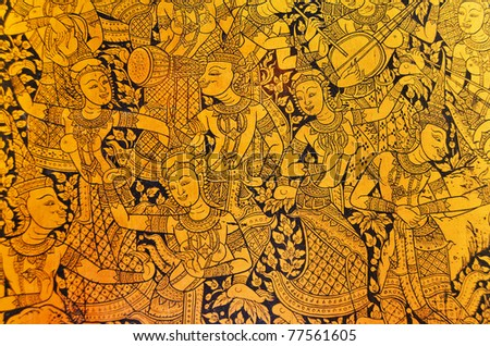 Ancient Thai pattern on wall in Thailand Buddha Temple , Asian Buddha style art
