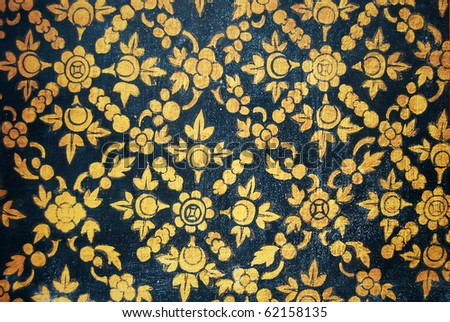 Ancient Thai Patterns on wall in Thailand Buddha temple