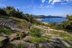 ancient theater, archaeological site in Limenas. Thassos, Greece