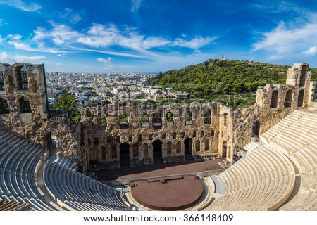 Ancient theater in a summer day in Acropolis Greece, Athnes