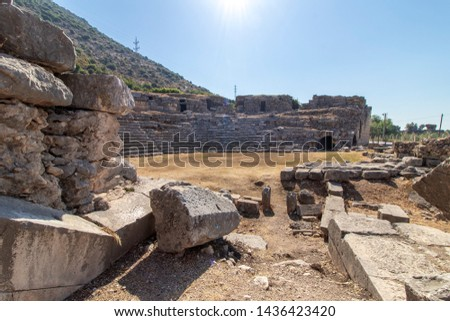 Ancient theater in Limyra ancient city. The ancient city is divided into two because of the highway. Finike, Antalya, Turkey.