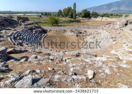 Ancient theater in the ancient city of Limyra. The ancient theater on the Finike highway has survived to the present day. Antalya Turkey.