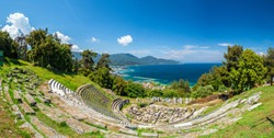 Ancient theater ruins, archaeological site in Limenas, Thassos island, Greece