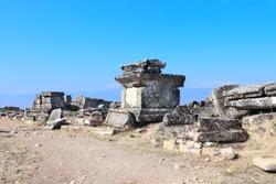 Ancient tombs in necropolis of Hierapolis, Pamukkale, Anatolia, Turkey. UNESCO world heritage site
