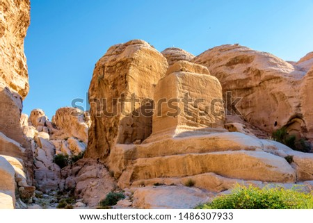 Ancient tombs in the ancient city of Petra Jordan Asia
