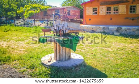 Ancient tools used for farming in Burrolandia farm, which is located in Tres Cantos, Madrid, Spain, Europe