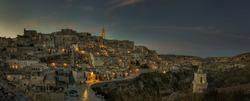 Ancient town of Matera, Sassi di Matera at night, Basilicata, southern Italy, european capital of culture