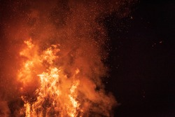 Ancient tradition of Epiphany fires in Friuli. Pignarûl and fireworks.