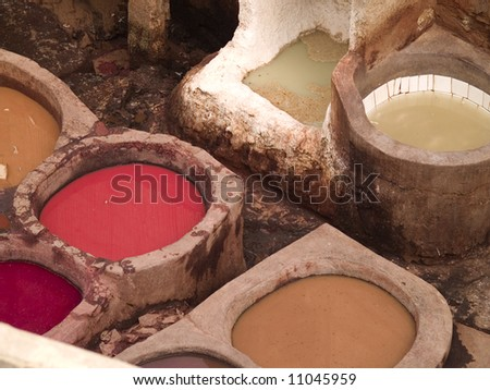 ancient traditional leather tannery at Fez, morocco