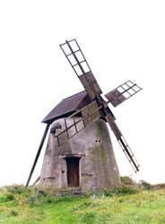 Ancient traditional windmill on the island of Gotland, Sweden