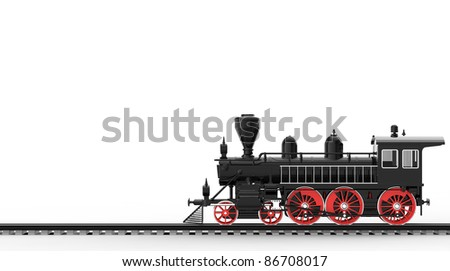 Ancient train on a white background - stock photo