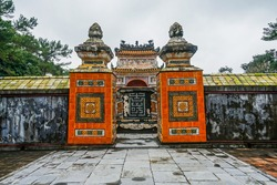 Ancient Tu Duc royal tomb and Gardens Of Tu Duc Emperor near Hue, Vietnam. A Unesco World Heritage Site. Travel and landscape concept.