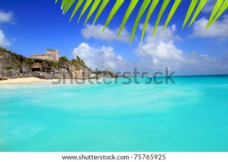 ancient Tulum Mayan ruins view from caribbean sea turquoise [Photo Illustration]
