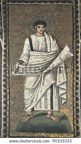 ancient UNESCO listed byzantine mosaic, with one of the evangelists unfolding a papyrus scroll with a gospel written on it.