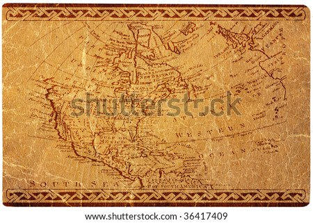 Ancient USA map and the North America