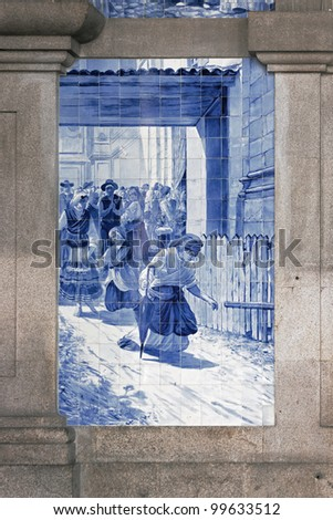 Ancient vintage azulejos picture in the old railway station Porto - Portugal
