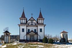 Ancient vintage church of St George in Polonechka village, Brest region, Belarus.