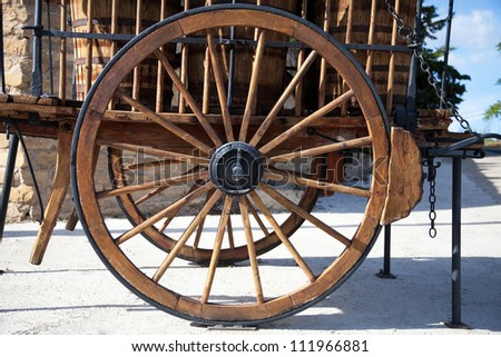 ancient wagon of wood of transport of goods