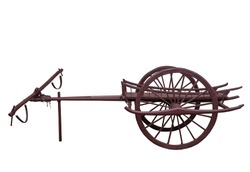 Ancient wagon or bullock car on white background.
