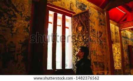 ancient wall ,ancient window ,Arts ,at Chiangmai Thailand