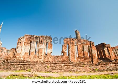 Ancient Wall of Chaiwattanaram Temple, Ayutthaya, Thailand