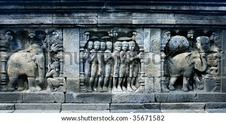 Ancient wall stone carving, Borobodur temple, Yogyakarta, Indonesia