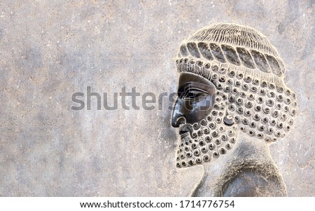 Ancient wall with bas-relief with assyrian warriors, Persepolis, Iran. UNESCO world heritage site. Horizontal background with embossed image persian bearded man. Mock up template. Copy space for text Stockfoto ©